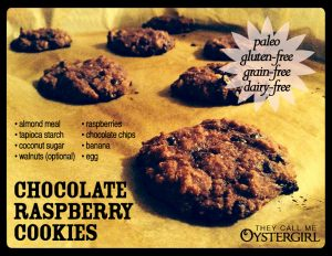 Paleo Chocolate Raspberry Cookies | They Call Me Oystergirl