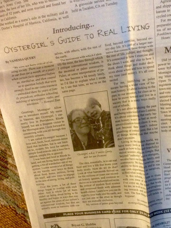 Oystergirl's Guide to Real Living | Vanessa Query | The Montague Reporter, 3/5/15 | They Call Me Oystergirl