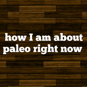 how I am about paleo right now